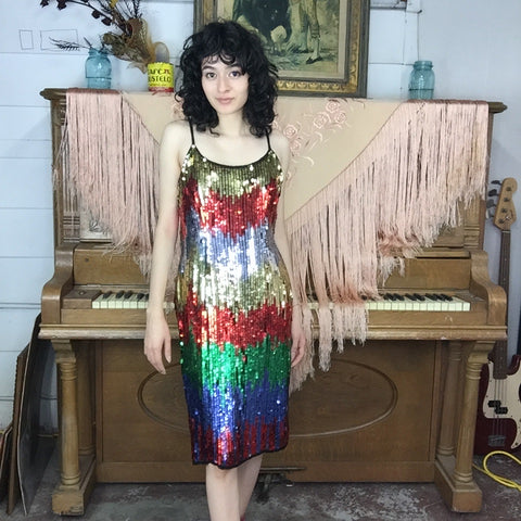 Vintage 80s 90s | Rainbow Fully Beaded Sequin Wild Glam Party Dress | S