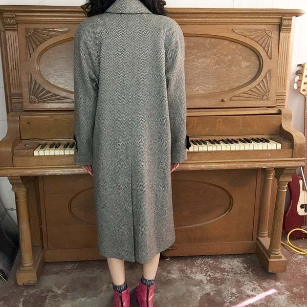 Vintage | Neiman Marcus 100% Cashmere Union Made Herringbone Coat | S