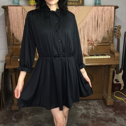Vintage 60s 70s | LBD Mini Dress GoGo Mod Boho Hippie Groovy Minidress | M/L