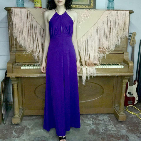 Vintage 70s | Purple Boho Disco Maxi Halter Lace Up Keyhole Dress | XS