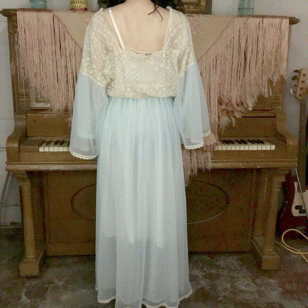 Vintage 60s Blue Double Layer Chiffon and Lace Robe | M/L