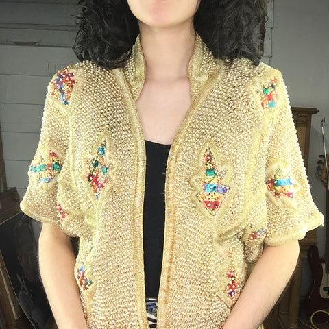 Vintage | French Collezioni India Gold Beaded Dolman Shrug Jacket Kimono | M