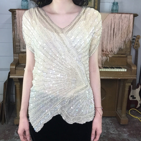 Vintage 80s 90s | Off White Fully Beaded Sequin Flapper Party Blouse | M