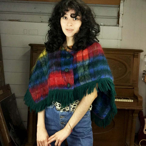 Vintage 70s | Plaid Wool Poncho Bohemian Cape with Fringe | Free Size