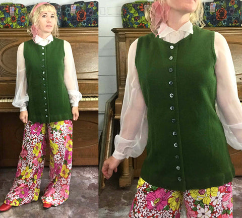 Vintage Mod 60s 70s | Green Button Down Wool Waistcoat Layering Piece Jacket | M