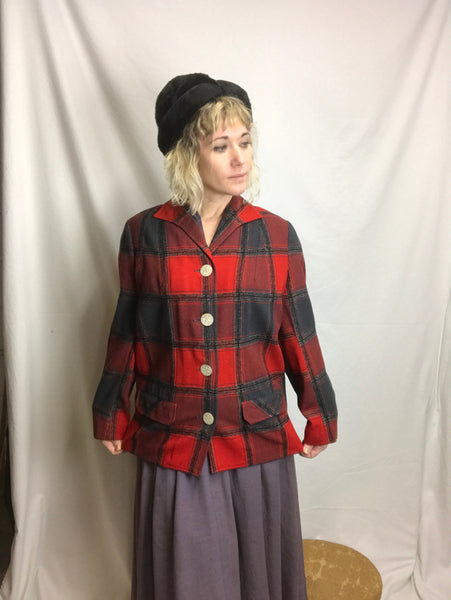 Vintage Pendleton Red Plaid Tartan Jacket 1940's Style | Size 12