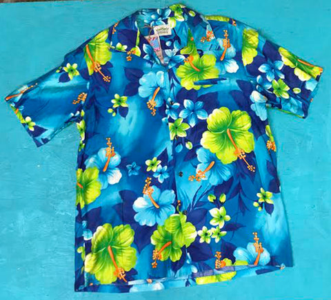 VTG Men's Blue Hawaiian Tropical Floral Print Button Down Vacation Shirt XL