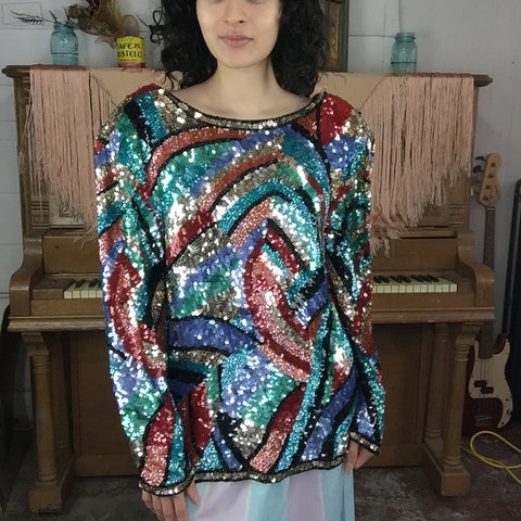Vintage 80s 90s | Colorful Fully Beaded Sequin Wild Glam Party Blouse | L