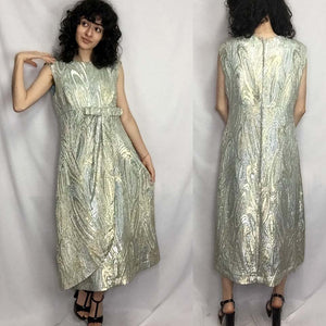 Vintage 50s 60s | Metallic Gold & Silver Brocade MCM Cocktail Party Dress | M