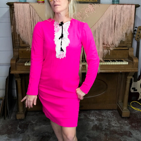 Vintage 1960s 60s | Hot Pink Mod GoGo Ruffle Neck Mini Dress | S/M