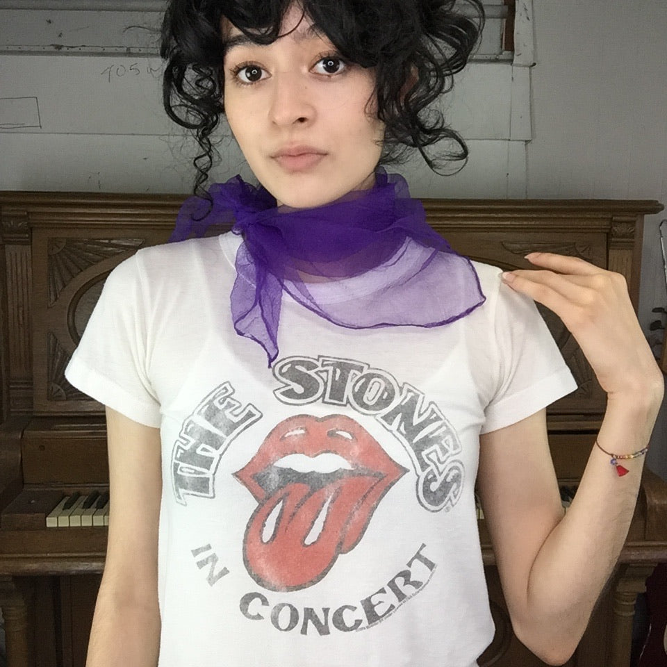 Vintage 50s 60s | Purple Chiffon Sheer Pinup Head Scarf Bonnet MOD Scarf