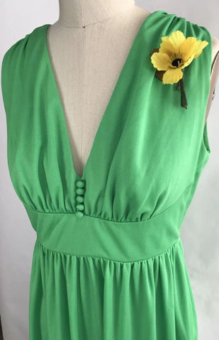 VTG Vintage 60s 70s Retro Bright Green Maxi Hostess Cocktail Party Gown Dress