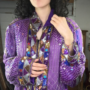 Vintage | Purple Fully Beaded Sequin Flapper Duster Jacket Kimono | Free Size