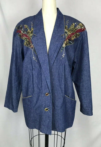 VTG Vintage 80s Wild Child Denim Embellished Studs Jean Jacket Blazer Sz 14
