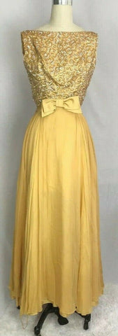 VTG Vintage 1950s Emma Domb Gold Beaded Party Evening Dress Formal Gown