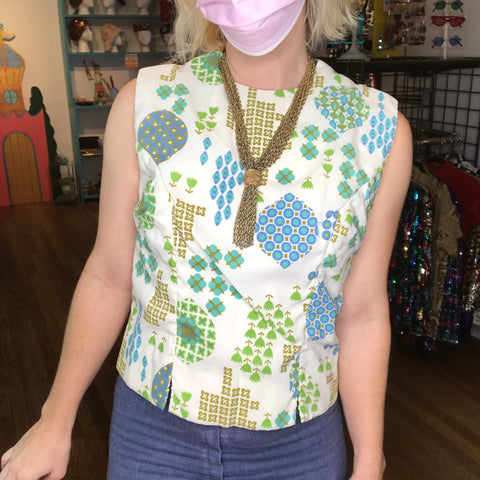 Vintage 60s | MOD Space Age Psychedelic Flower Power Crop Top | M