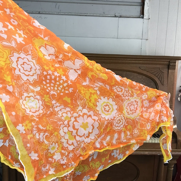 Vintage 50s 60s | Orange & Yellow Floral Chiffon Sheer Pinup Head Scarf Bonnet MOD Scarf