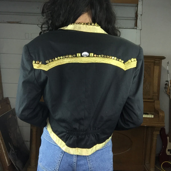 Vintage 90s | Contempo Black and Gold Embellished Jacket | Size M