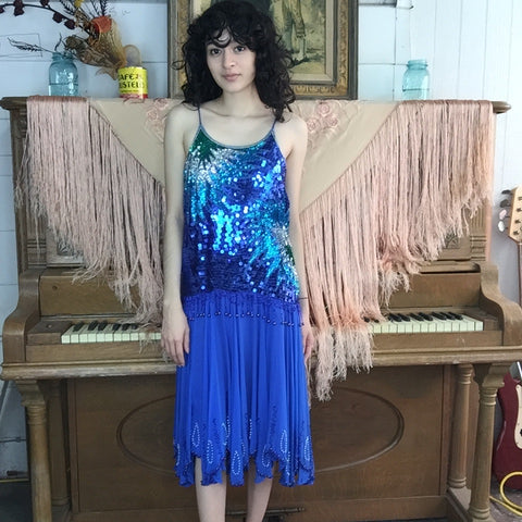 Vintage | Blue Silk Beaded Sequin Fringe Flapper 20s Dress | Size S