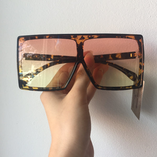 Shield Sunglasses - Tortoise Shell frames with Red Gradient Lenses