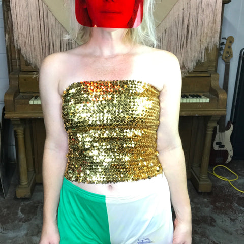 Vintage 70s | Gold Disco Sequin Stretchy Tube Top | One Size