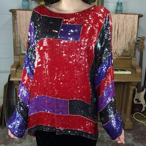 Vintage 80s 90s | Colorful Fully Beaded Sequin Wild Glam Party Blouse | Free Size