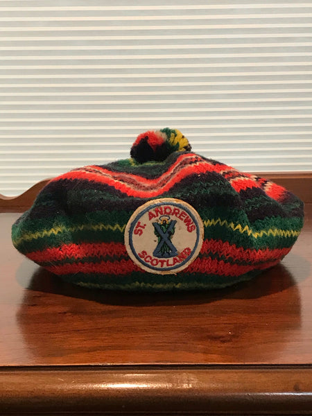 Vintage | Scottish Knitted Tam with St Andrews Logo Patch | Wool Appearance