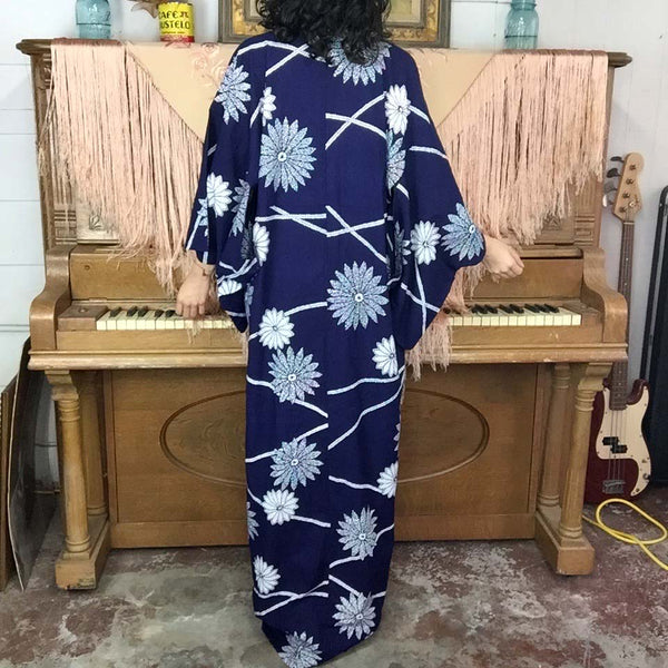 Vintage Japanese Cotton Navy Blue & White Floral Kimono