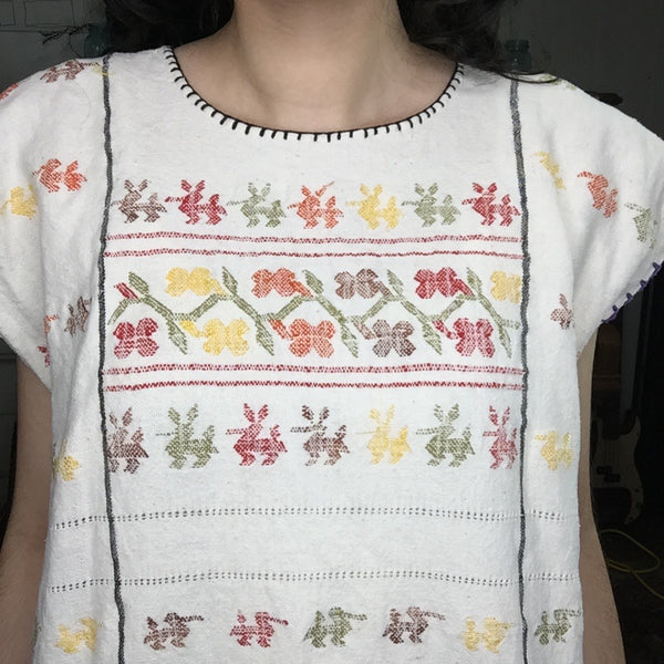 Vintage 70s | Mexican Hippie Cotton Boho Embroidered Puebla Blouse | Free Size