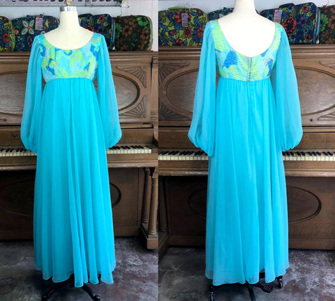 VTG 60s 70s | Groovy Psychedelic Balloon Sleeve Empire Waist Mod Maxi Dress | XS