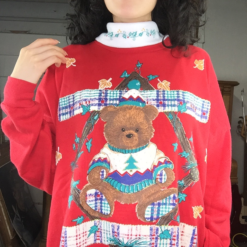 Vintage 80s | Teddy Bear Ugly Tacky Christmas Sweater Sweatshirt | Size L