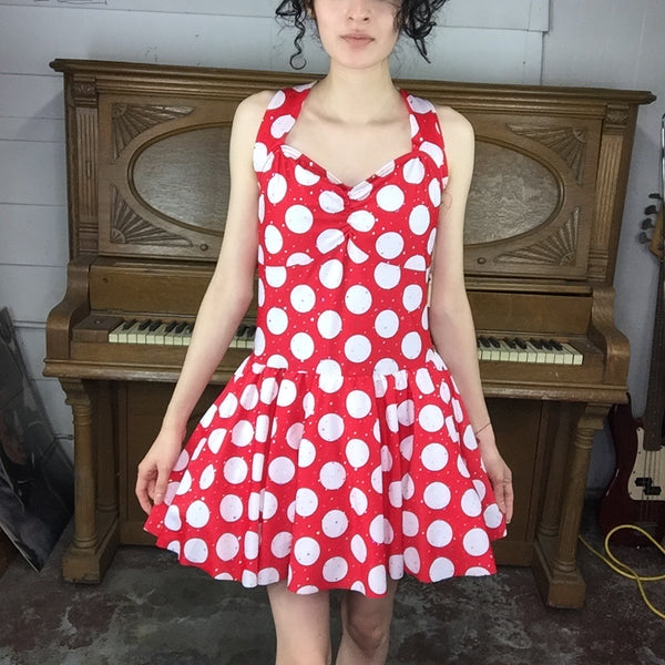 Minnie Mouse Costume Red and White Polka Dot Halter Tulle Skirt Mini Dress | S/M