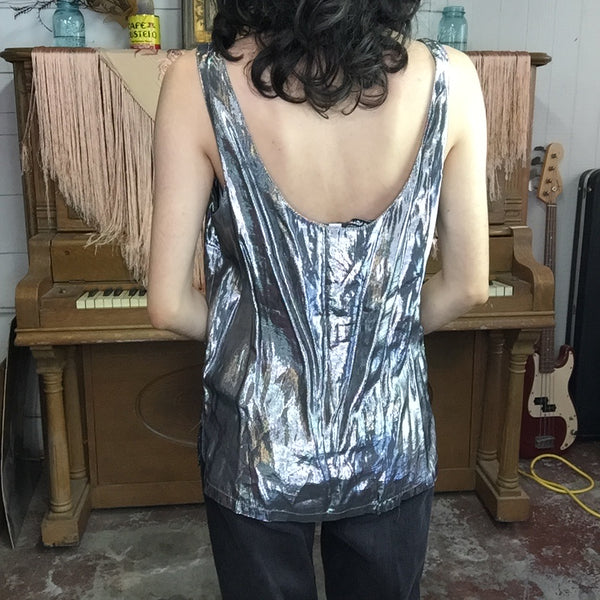 Vintage 80s | Glam Metallic Silver Shiny Disco Party Blouse Tank Top | M