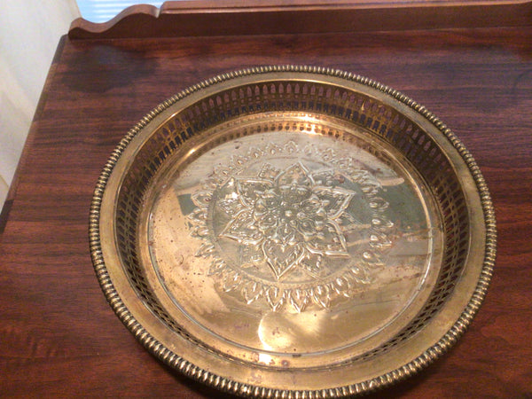 Vintage | Footed Solid Brass Tray | Floral Design | 12 1/4 inch diameter