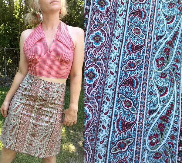Vintage 90s does 70s Groovy Boho Hippie Paisley High Waisted Pencil Skirt Size S