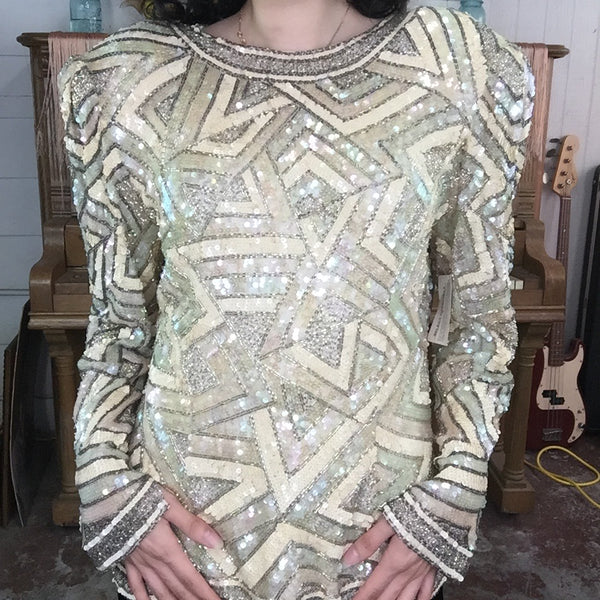 Vintage 80s | Off White Fully Beaded Sequin Wild Glam Party Blouse | L