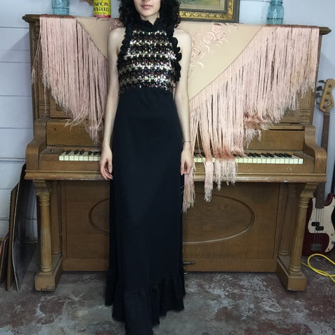 Vintage 70s | Black & Gold Sequin Boho Disco Maxi Halter Dress | XS