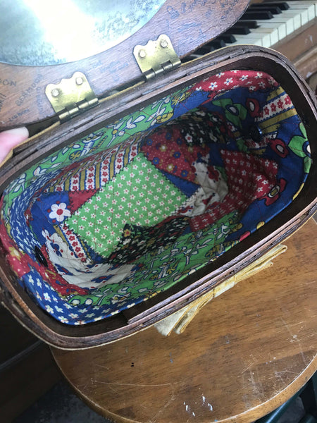 Vintage 60s Basketville Basket Box Purse Wicker Bag Mirror Novelty Boho Handbag