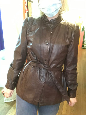 Vintage 1970s | Brown Leather Boho Belted Jacket