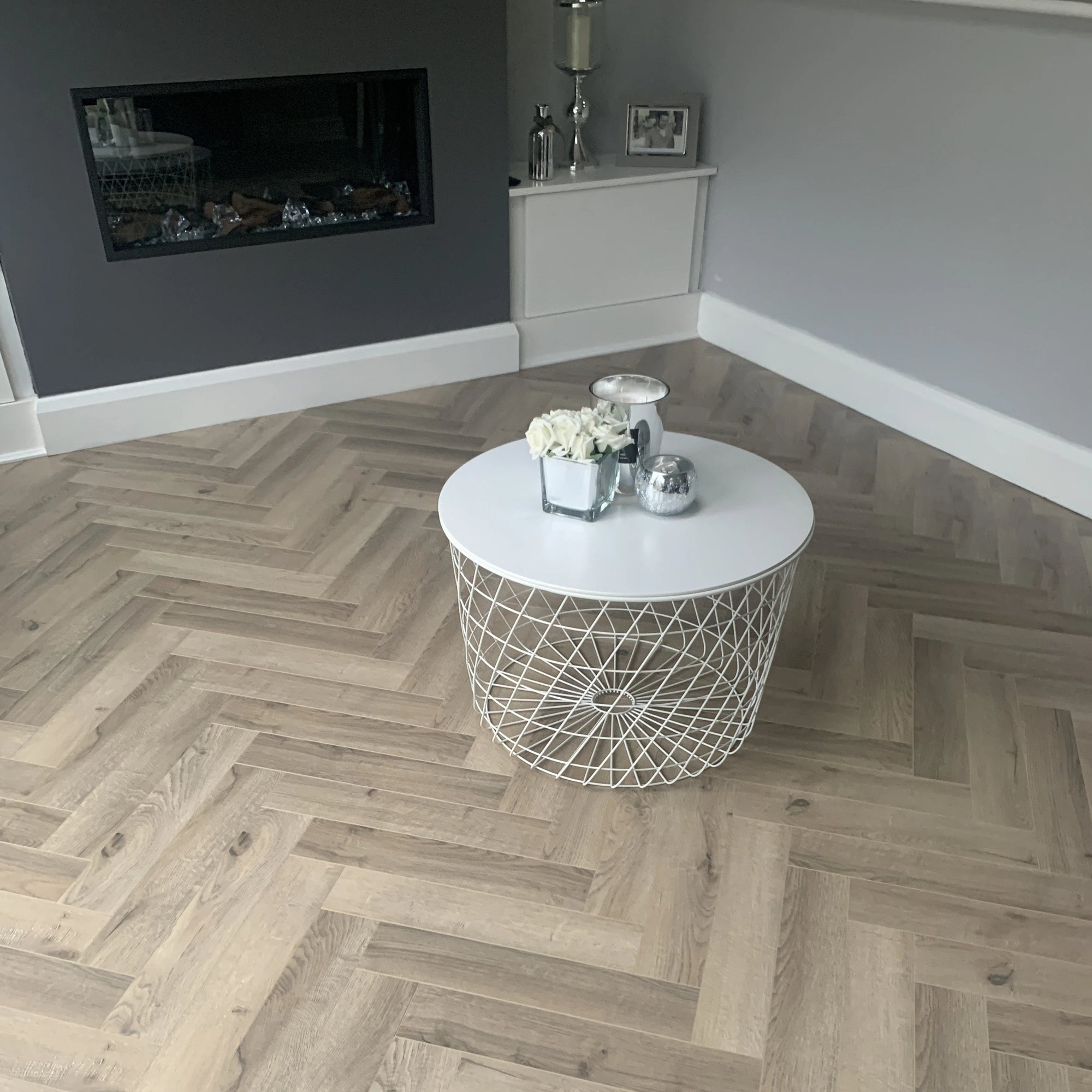 Greige Oak Herringbone