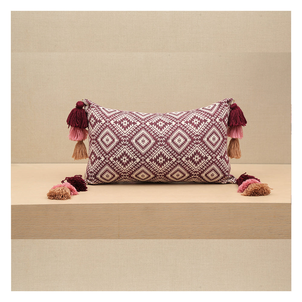 Diamond Jacquard Lumbar Pillow - Plum