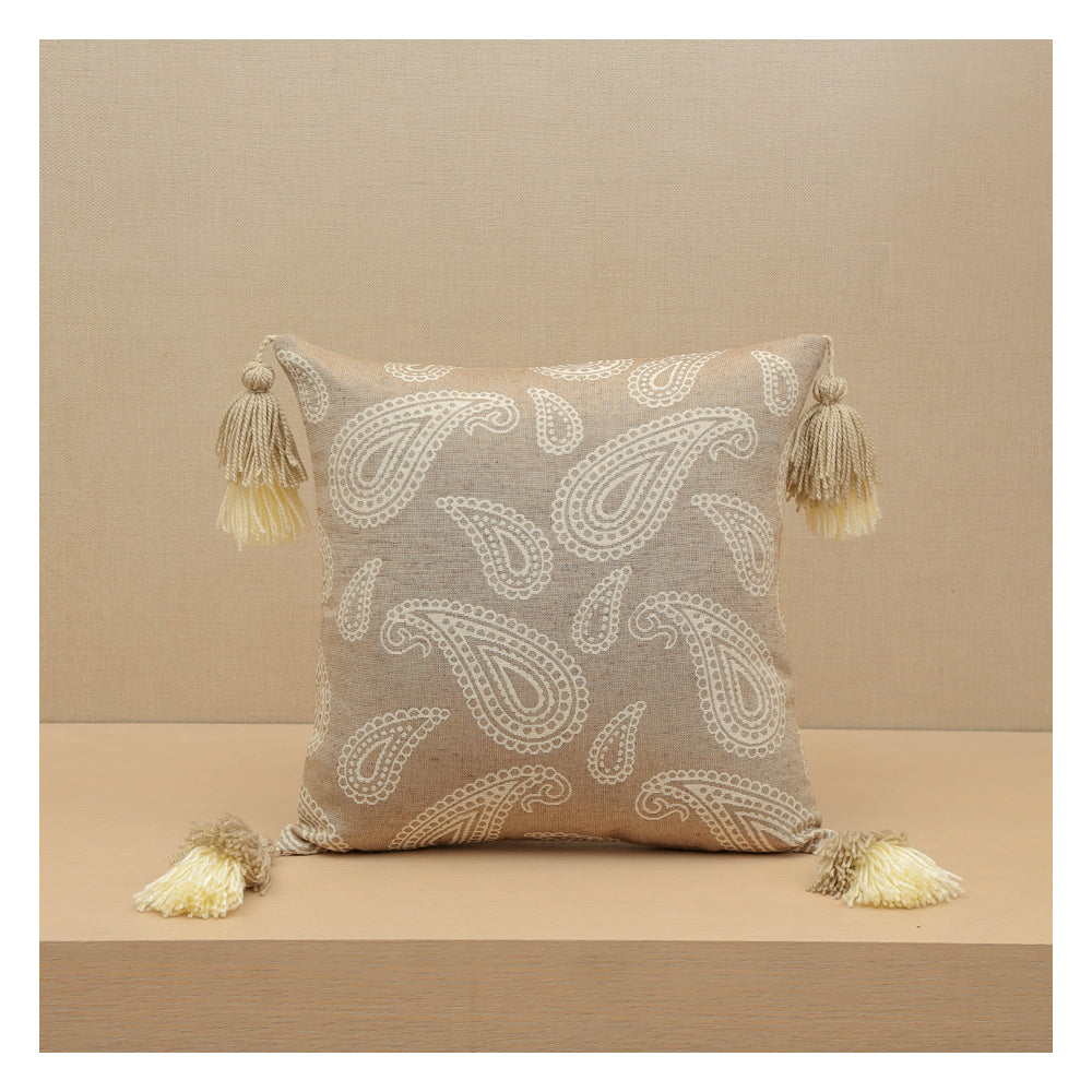 Paisley Jacquard  - Beige - Set of 2 Cushions