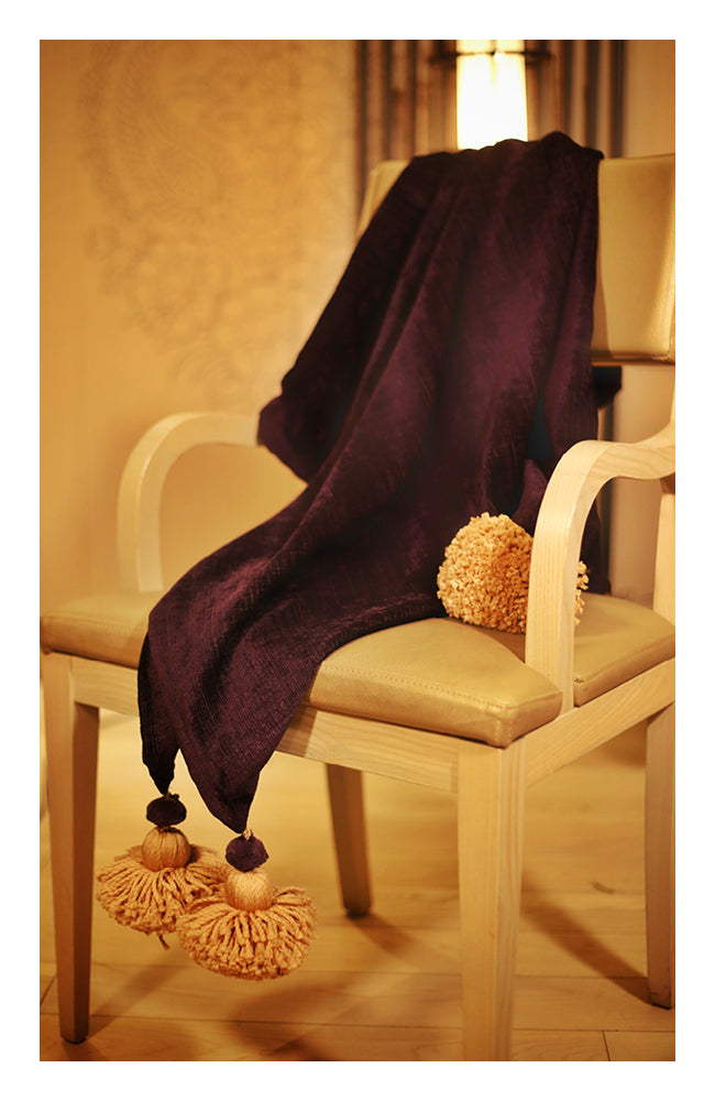 Deep wine Textured Throw with Tassels