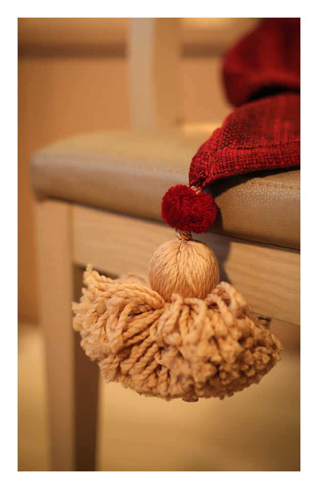 Berry Red Textured Throw with Tassels