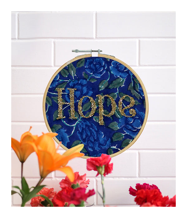 HOPE Embroidered Wall Art - Gold