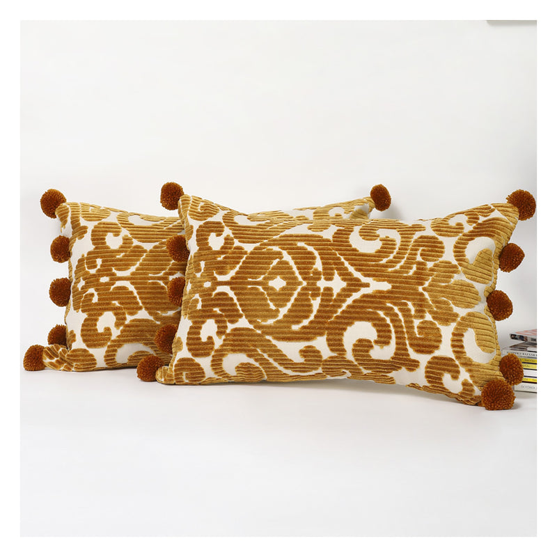 Gold Jacquard Lumbar Pillow
