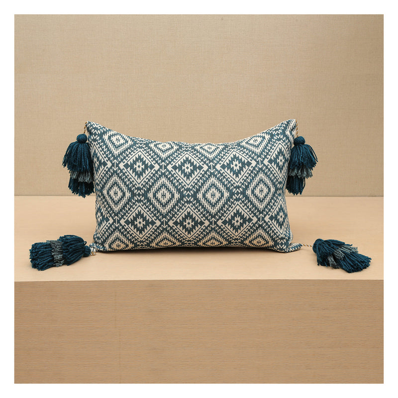 Diamond Jacquard Lumbar Pillow - Teal