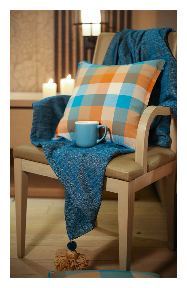 Teal Herringbone Throw with Tassels