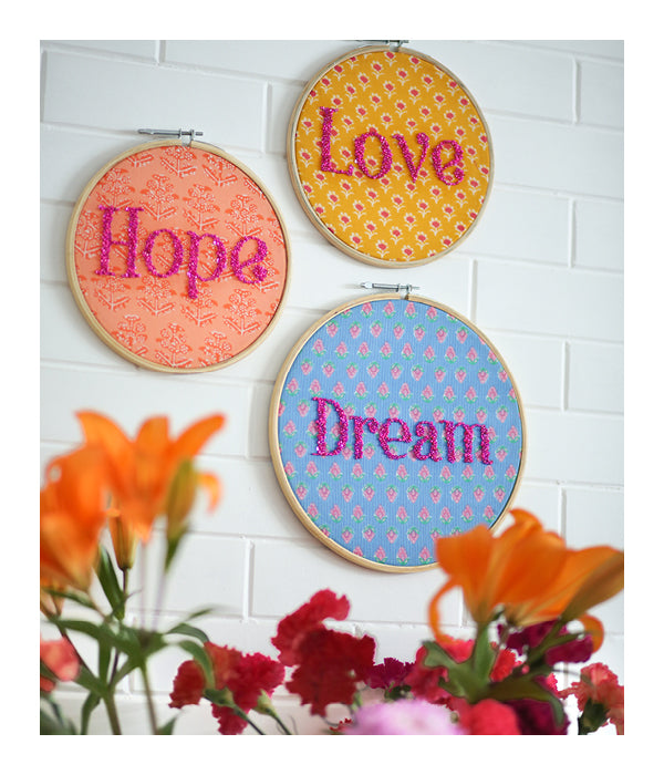 Embroidered Wall Art - Love, Hope, Dream