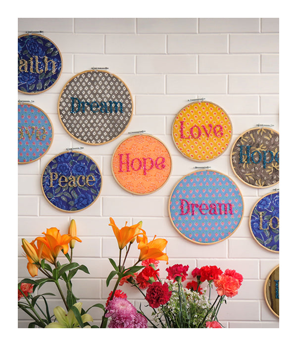 LOVE Embroidered Wall Art - Hot Pink